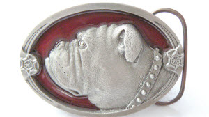 Red and Pewter Baby Bulldog Belt Buckle