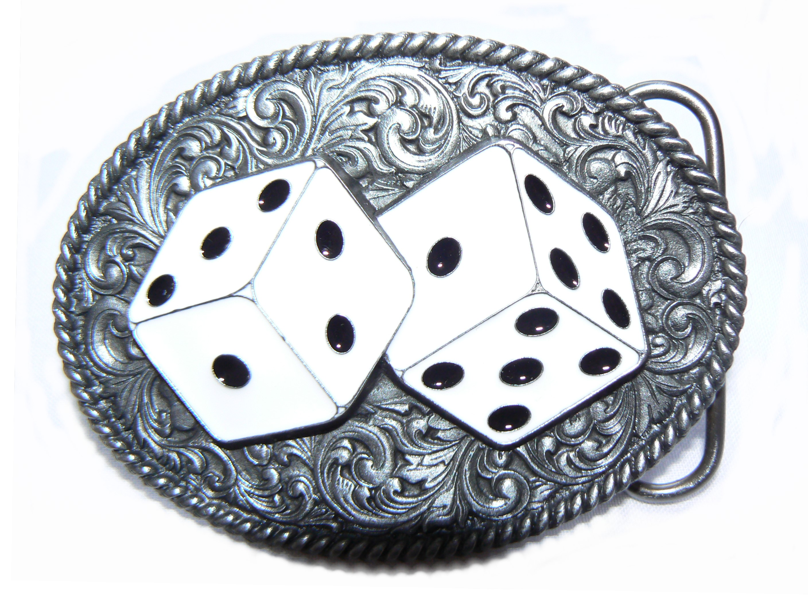 White Dice Belt Buckle